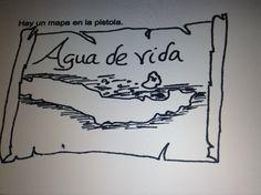 El mapa dice <<Agua de vida>>