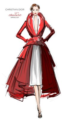 Christian Dior Couture Spring 2011 by John Galliano, elegant, fashion illustration, red coat, watercolour sketch