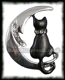 Witchy Cat and Moon Brooch