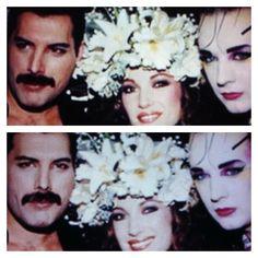 Fashion week London 1986/Fashion Aid; Freddie Mercury, Jane Seymour, Boy George