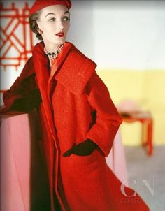 Evelyn Tripp is wearing a long wool llama fleece red coat and matching hat by Givenchy. Photo by Horst P. Horst, 1953