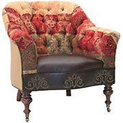 Chenille Patchwork Multi Colored Tufted Chair