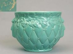 Vintage McCoy Pottery Quilted Jardiniere Green Gloss
