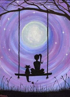 A Girl and her Cat (PRINT) A girl and her cat. Sure to capture the hearts. In this dreamy, heartfelt silhouette of a girl and her cat sitting on a swing under the majestic full moon, get lost. My cat Kickick inspires my art. She was my first experience of Cat Art Print, Print Print, Cat Sitting, Sitting Girl, Painting & Drawing, Swing Painting, Moon Painting, Heart Painting, Painting Tattoo