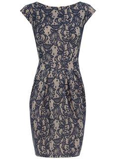 Blush/ink bonded lace dress