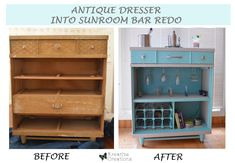 antique dresser into sunroom bar redesign, outdoor living, painted furniture, repurposing upcycling Bar Furniture, Cheap Furniture, Furniture Projects, Furniture Makeover, Painted Furniture, Diy Projects, Furniture Refinishing, Furniture Hardware, Dresser Makeovers