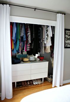 ~Closet: It might look silly, but when you boost the bar higher, you can fit more below your clothes (genius). Then, you can squeeze a dresser or shoe rack underneath your hung-up garments.  See more at Urban Acreage »