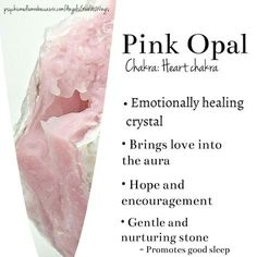 crystal healing Pink OpalPink Opal is powerful stone for healing the emotions, especially those connected with subconsciously held pain. In addition to healing matters of the heart, th