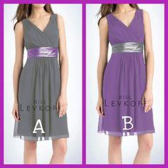 Grey w purple. Purple w grey bridesmaid dress
