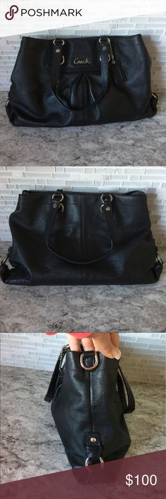 Coach Leather Purse! 💜 Coach Black leather purse with purple interior! Leather is in great shape. Coach Bags Shoulder Bags