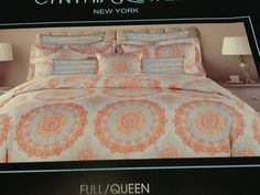 CYNTHIA ROWLEY ORANGE MEDALLION FULL / QUEEN DUVET COVER SET 3PC CORAL AQUA…
