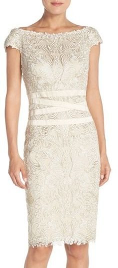 Tadashi Shoji Embroidered Off the Shoulder Mesh Sheath Dress
