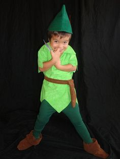 Peter Pan costume custom made Tyrolean felt hat red feather faux suede green tunic green tights alpine hat ANY CHILD SIZE on Etsy, $170.00