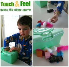5 Senses - Touch Activity I used an empty tissue paper box instead. This was a huge hit with my yr old! The first few times we played I let him choose 10 objects to put in the box, to make it a little easier. Toddler Learning, Toddler Fun, Toddler Preschool, Fun Learning, Learning Activities, Tactile Activities, Summer Activities, Teaching Resources, Sensory Activities Toddlers