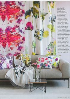 A floral hit with our Nymphea floral fabric also with our Couture Rose throw as seen in Koti Ja Keitto, Finland