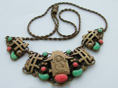Antique Art Deco Max Neiger Czech Gablonz Chinese Style Necklace on Etsy, $792.00