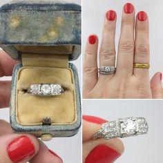 Streamline Art Deco engagement ring Reverie estate jewelry NYC