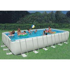 "Intex 32' x 16' x 52"" Ultra Frame Rectangular Swimming Pool Set | 28375EH"