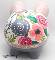 Boho Chic Floral Antler Personalized Piggy Bank en Coral, Tan, Grey y Silver The Little Couple, Paper Mache Animals, Personalized Piggy Bank, Paint Your Own Pottery, Nursery Art, Boho Chic, Diy For Kids, Baby Shower Gifts, Floral
