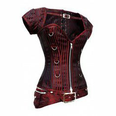 CD-831 - Red and Black Striped Corset with Detachable Belt and Jacket-MADE TO ORDER on Wanelo