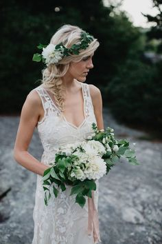 greenery and white wedding crown / http://www.deerpearlflowers.com/wedding-hairstyles-with-flower-crowns/