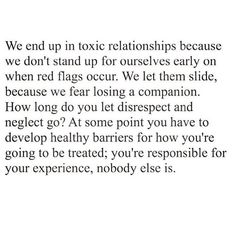 "This! #Preach It's even more difficult to recognize red flags when you've grown up in toxic environments where what most people consider red flags are your norm. There were a couple things that were the ""aha"" moments for me. Today for some reason I'm unusually grateful for my own personal journey. I was very lucky that I wasn't any more intertwined in my past relationship because I can't even imagine how much more difficult it would be to leave when there are children involved. Not only…"
