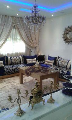 Salon marocain vert turquoise beige – Amenda decor   Salons ...