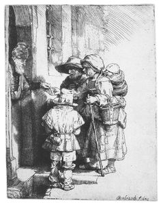 Three Beggars at the Door of a House    1648