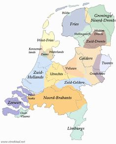 The Dutch Language. This map shows the provincial languages and regional dialects spoken in the Netherlands.