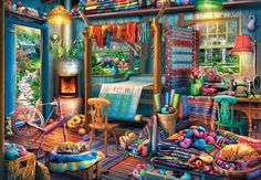 Buffalo Games - Quilting Shed - 2000 Piece Jigsaw Puzzle, Multicolor Puzzle Shop, Puzzle Art, Puzzle 1000, Puzzle Toys, Painting Tools, Diy Painting, Best Jigsaw, Buffalo Games, Sleeping Kitten