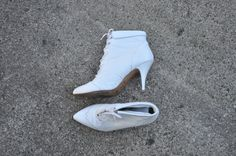 80s white ankle boots / 1980s stiletto leather by QuietUnrest