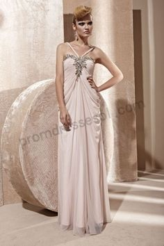 Light Pink Spaghetti-strap Beads Ruched Tencel A-line Floor-length Formal Bridesmaid Dress BO962