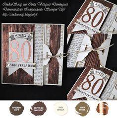 """Carte 80 anniversaire vintage """"Au fil des ans"""" - Stampin'Up!"""