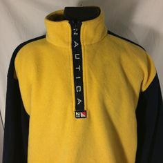 Vintage Nautica NUS Half Zip Fleece Jacket XL Yellow Blue Long Sleeve #Nautica #FleeceJacket