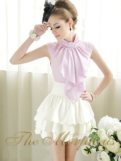 Morpheus Boutique  - Purple Lovely Designer Lady Sleeveless Bow Ruffle Collar Shirt