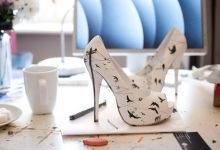 love the way the crows have been drawn on these heels.