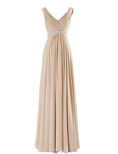 FNKS V Neck Beaded Floor Length Evening Dress Bridesmaid Gown Champagne US 18 plus FNKS http://www.amazon.com/dp/B00XH69FJQ/ref=cm_sw_r_pi_dp_8pZ5vb18KS1RF