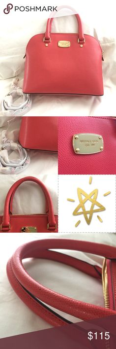 """Michael Kors Watermelon MD Dome Satchel Leather 🌷NWT 🌷Medium Michael Kors Dome Satchel Leather 🌷Watermelon 🌷Measurements are:       Height:9"""". Width:12"""" 🌷Has an adjustable long strap 🌷On 3rd pic you can see a small black dot on handle & on 4th Pic you can see a light line across the back of the bag, it can only be seen when the light hits the bag 🌷Comes from a Pet Friendly/Smoke free home ✨I do my best to inspect and describe every detail  of all my items listed and every flaw (if any…"""