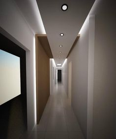 4 Cheerful Tips AND Tricks: False Ceiling Design For Balcony false ceiling classic.False Ceiling Corridor Spaces false ceiling design for balcony. Drop Ceiling Lighting, Corridor Lighting, Interior Lighting, Hallway Ceiling, Bulkhead Ceiling, Corridor Ideas, Ceiling Lights, Indirect Lighting, Office Lighting