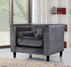 Meridian Taylor Grey Velvet Chair - 642Gry-C
