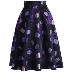 Chicwish Purple Tulips A-line Midi Skirt ($45) ❤ liked on Polyvore featuring skirts, purple, print skirt, knee length a line skirt, dressy skirts, blue a line skirt and blue print skirt