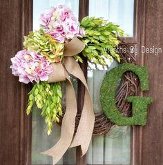 Hydrangea Wreath,Pink Hydrangea Wreath, Moss Initial, Wreaths, summer Door Wreath, Front porch decor ,Home  decorhttps://www.etsy.com/listing/237175545/front-door-wreath-pink-and-green