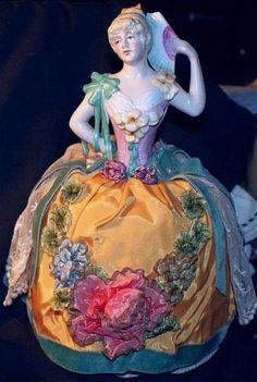 Antique large 9.5 Half doll pin cushion purple & lace victorian figural women