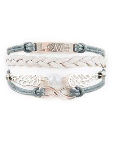 Infinity, Wings, Love Modestly Bracelet – Dark Gray/Gray