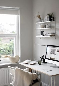 White Minimal Task Lamp in Scandinavian Home Office Design via These Four Walls Desk Space, Home Office Space, Home Office Design, Home Office Decor, Home Decor, Office Spaces, White Desk Home Office, Office Ideas, Office Lamp