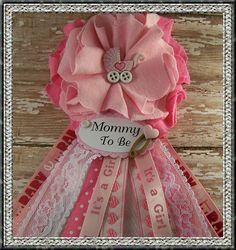 Pink Hearts Mommy To Be Corsage Baby Shower by BloomingParty