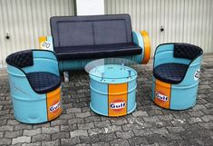 Gulf, Porsche, Harley or Other Design Retro Oil Drum Sofa, Sofa, Couch in Car . Garage Furniture, Barrel Furniture, Retro Furniture, Drum Seat, Porsche, Oil Barrel, Metal Drum, Oil Drum, Automotive Decor