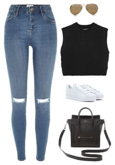 """Untitled #1720"" by humlan17 ❤ liked on Polyvore featuring Neil Barrett, River Island, adidas Originals, Ray-Ban and CÉLINE"