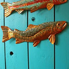 orange and copper fish | Copper Brown Trout fish by Mark - with red-orange and blue-green raku ...