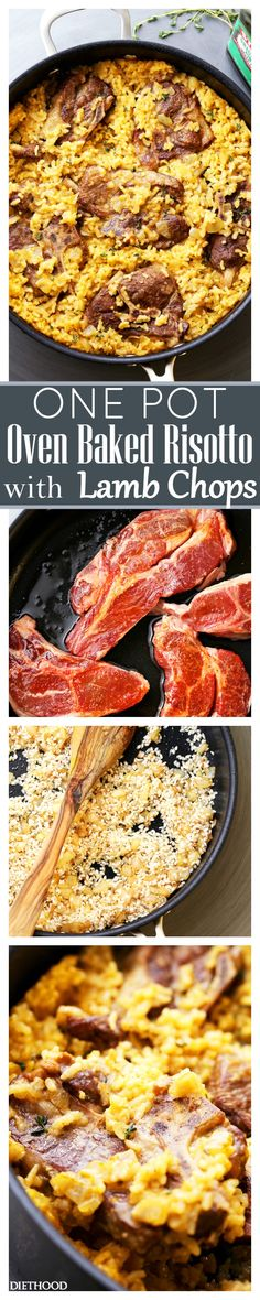 Mom's One Pot Oven-Baked Risotto with Lamb Chops Recipe - A super easy yet stunning one pot meal that the whole family will love! AND the whole thing bakes in the oven, in just one pot!(Pork Chop Recipes In Oven) One Dish Dinners, One Pan Meals, Delicious Dinner Recipes, Yummy Food, Yummy Yummy, Entree Recipes, Cooking Recipes, Oven Baked Risotto, How To Cook Lamb